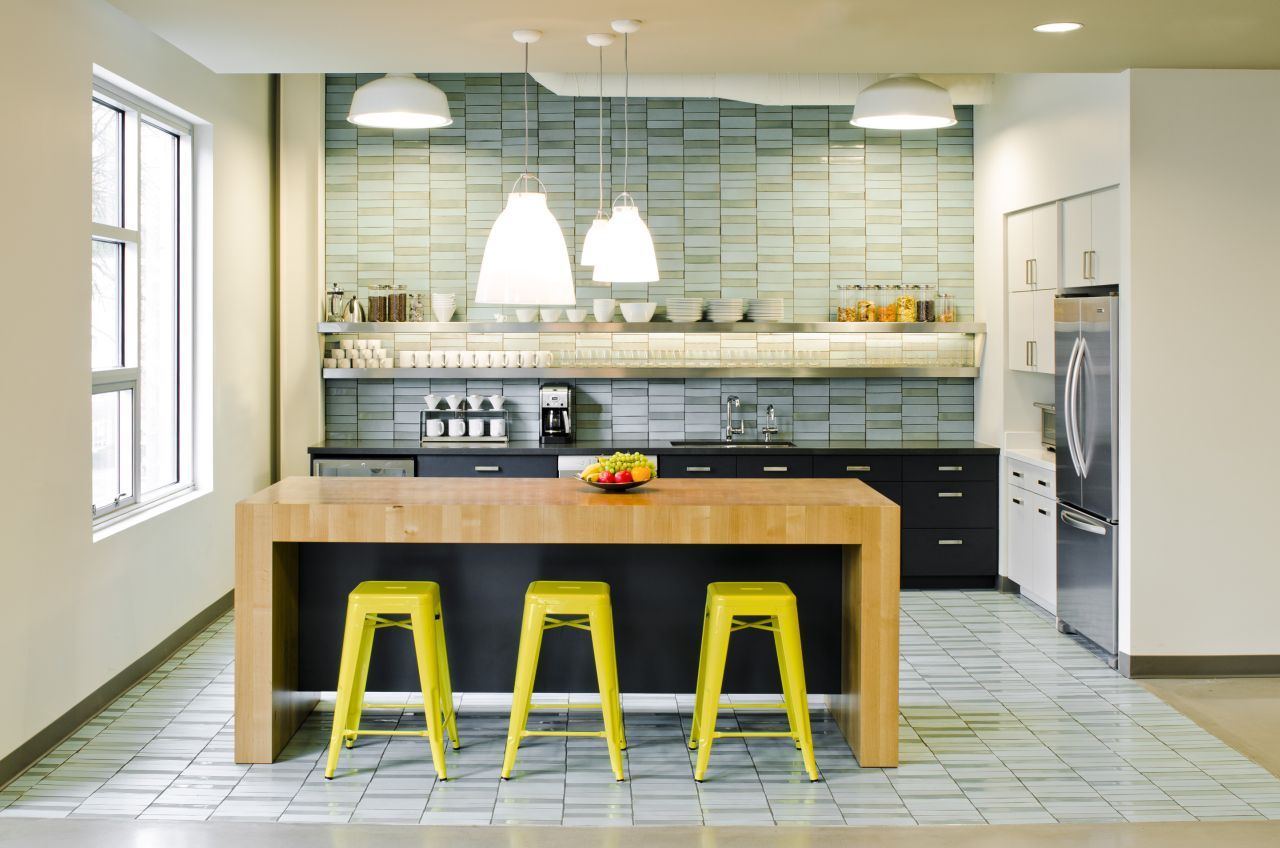 stylish-compact-office-kitchen-design-with-gorgeous-lighting-and-custom-butcher-block-island-also-Floating-shelves-hold-dishes-and-healthy-snacks