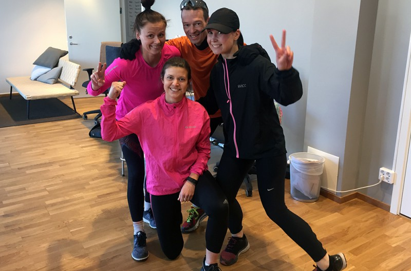 Dagens lunchlöpargäng: Malin, Sandra, Fredrik och Terese.